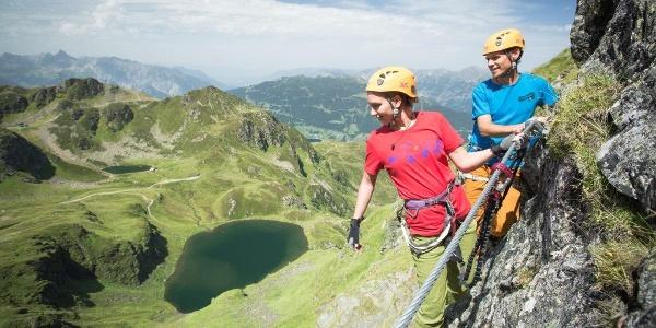 Klettersteig Hochjoch mit Blick zum Schwarzsee