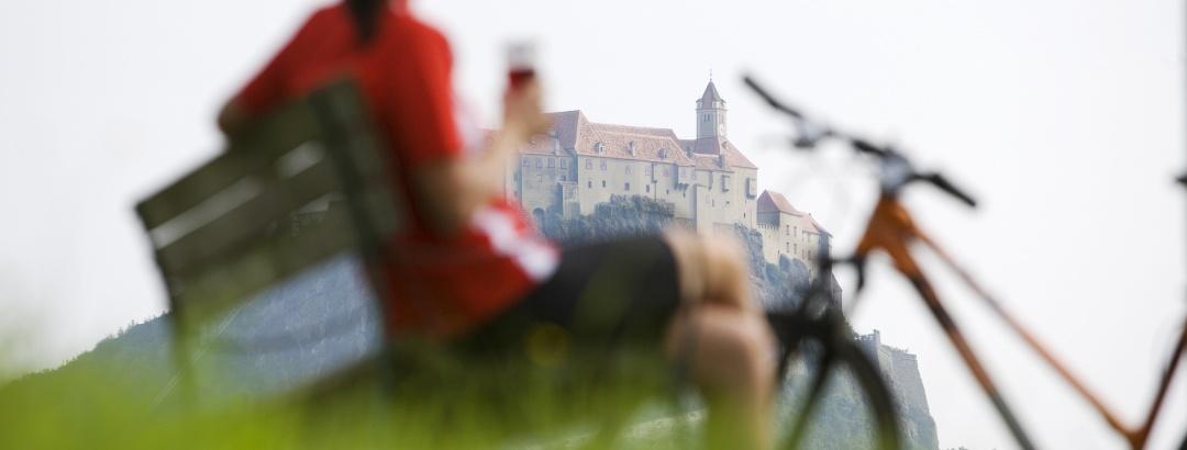 Radeln mit Genuss und Blick auf die Riegersburg.