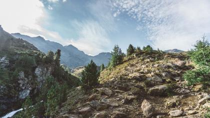 der steile Aufstieg ab der Inneren Matscher Alm
