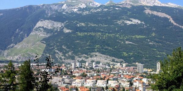 Aussicht auf Stadt Chur mit Calanda