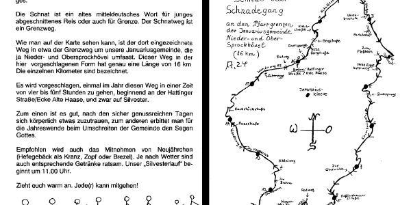 Original-Text und -Kartenskizze von Pfr. Wiethüchter aus dem Jahr 2003