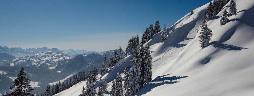 Snowy Allgäu mountain landscape