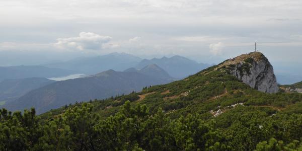Gipfel Benediktenwand - links unten Walchensee