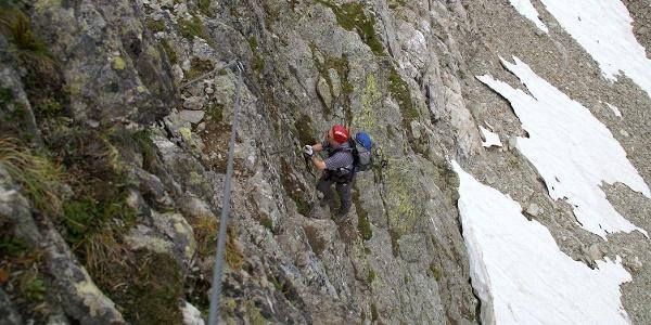 Im unteren Teil des Klettersteigs.