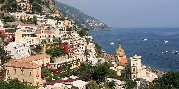 View of the coastal town of Positano
