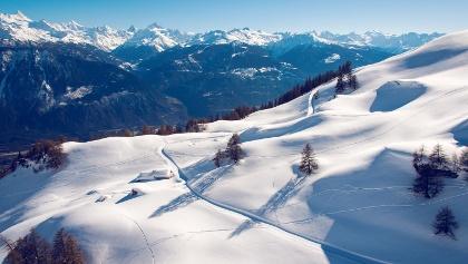 Aussicht auf der Winterwanderung Crans - Aminona
