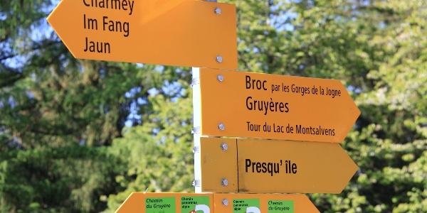 Wegweiser am Lac de Montsalvens.