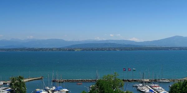 Blick über den Hafen Nyon und den Genfersee.