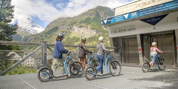 Giving back the kickbikes at the Sunnegga valley station