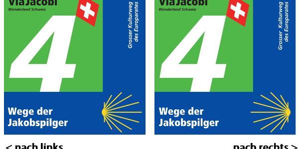Wegweiser Via Jacobi 4: links / rechts