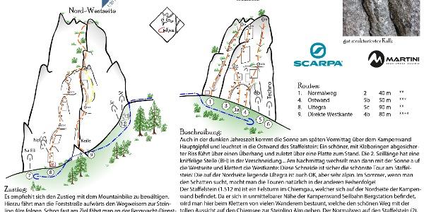 Topo Klettertouren am Staffelstein bei der Kampenwand in den Chiemgauer Alpen