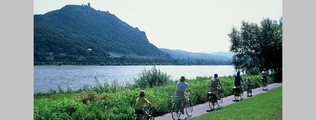 Radtour am Rheinufer mit Blick auf Drachenfels