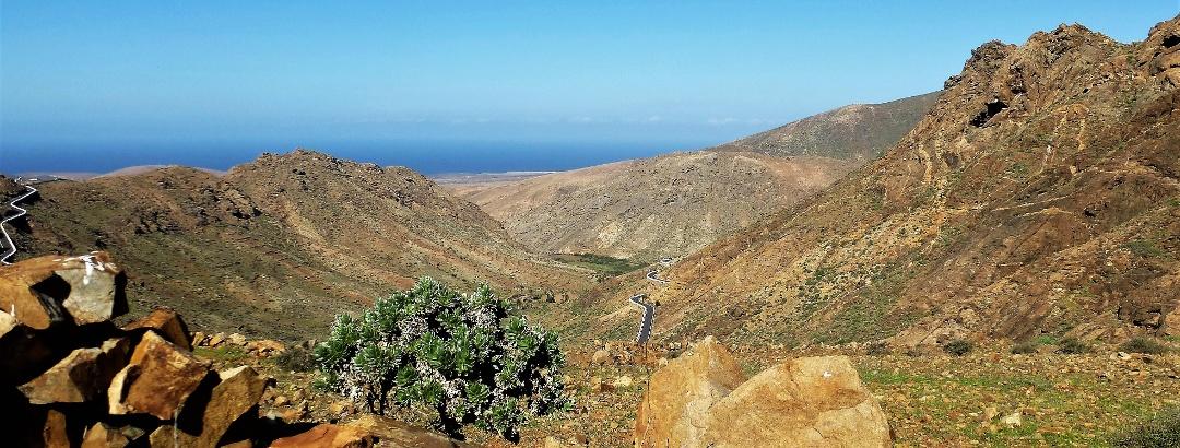 Blick vom Pass auf die Talsperre im Barranco de las Peñas