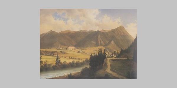 Freudenberg mit Magdalens- bzw. Christofberg (nach Markus Pernhart, Ölgemälde (1824-1871)) -  Südansicht