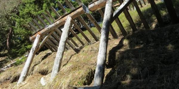 Verbauung durch Holzschneerechen