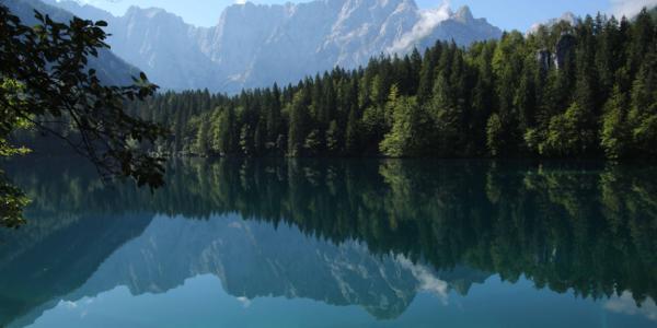 Der untere Weißenfelser See mit dem Mangart
