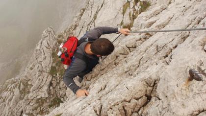 Am Drahtseil auf dem Hindelanger Klettersteig