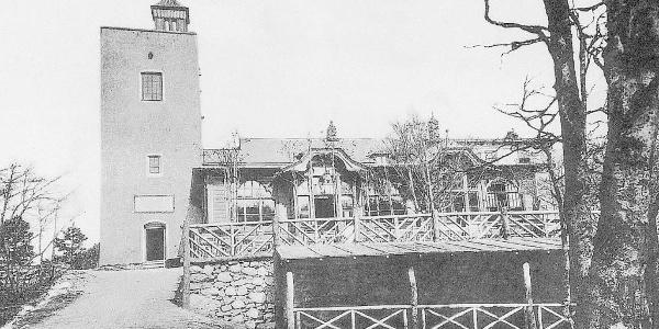"""Sina-Warte und erster Anbau des Schutzhauses """"Eisernes Tor"""" anno 1910"""