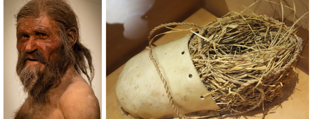 links: naturalistische Rekonstruktion Ötzis; rechts: Nachbildung seiner Schuhe