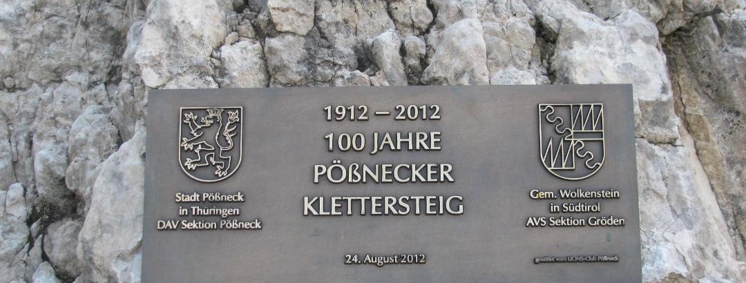 Gedenktafel zum 100 jährigen Bestehen des Klettersteiges