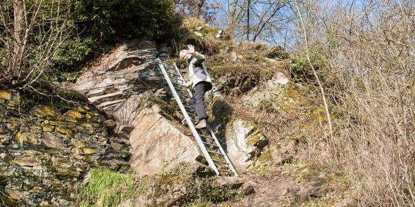 … Kletterpfad Dolling ebenfalls mit Leitern und Seilsicherung (bitte beide Hände benutzen) und …