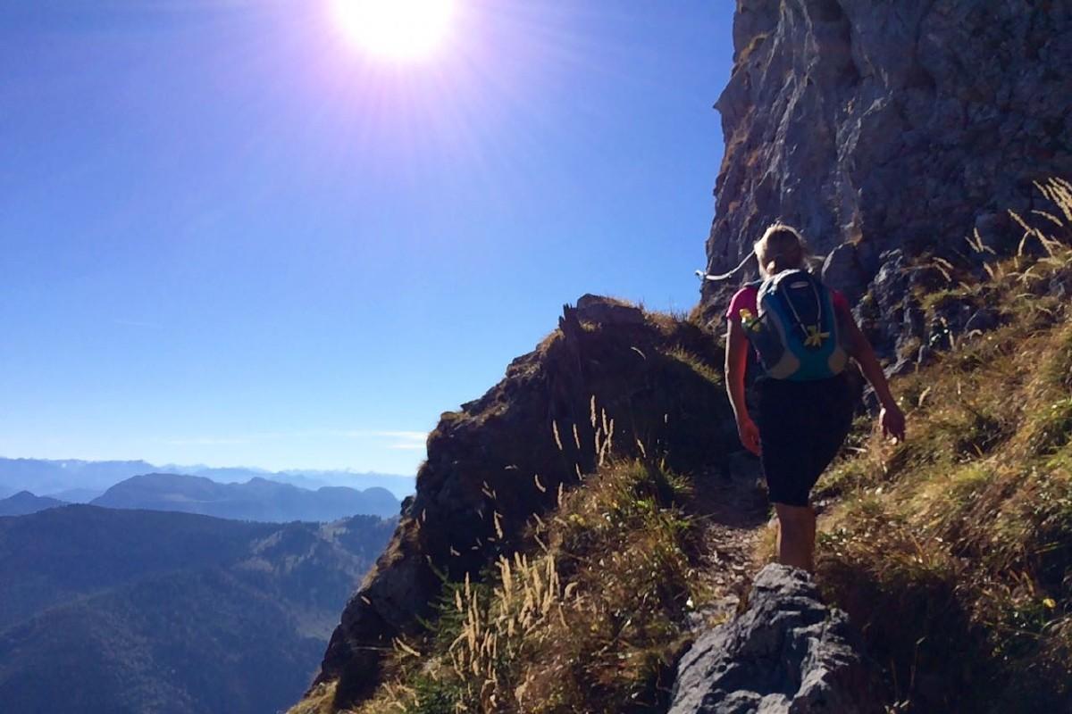 Aufstieg zum Gipfel teilweise seilversichert