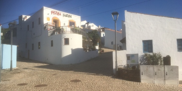 Main square, Pedralva. View from Rota Vicentina Signpost