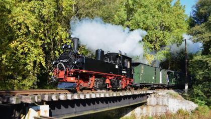 Lok IV-K 99 1590-1 mit Reisezug bei Einfahrt in den Bhf Schlössel auf der Brücke über das Schwarzwasser