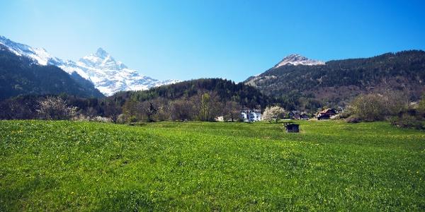 View to the «L'Aiguille» from Plateau de Vérossaz
