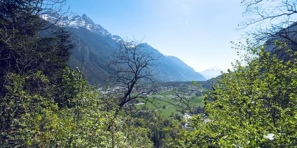 Blick Richtung Martigny vom Plateau de Vérossaz