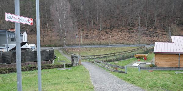 Wir überqueren den Speyerbach und die Landstraße