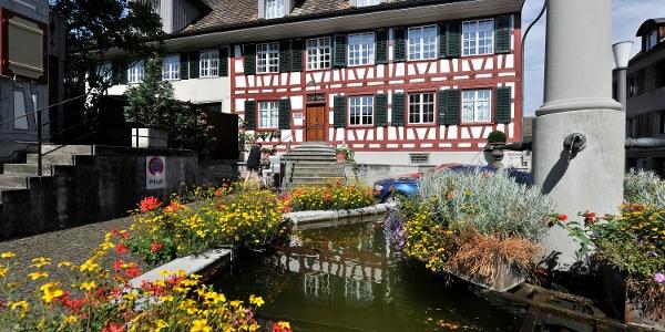 Zentrum von Weinfelden mit Brunnen