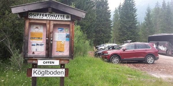 Zustieg ab Parkplatz und Bushaltestelle Köglboden