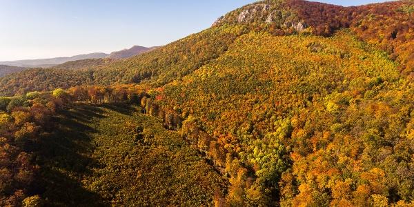 A drone photo of Tar-kő in autumn