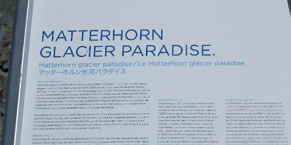 Infotafel auf dem Matterhorn Glacier Trail