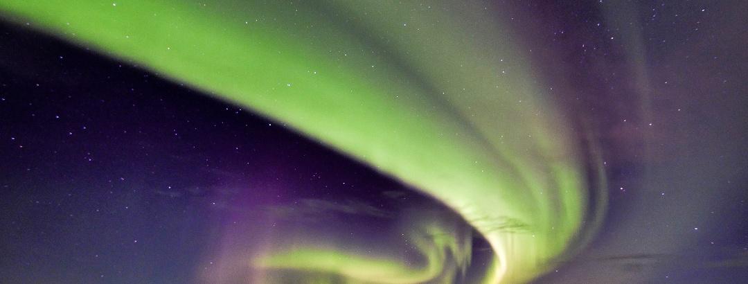Double aurora on lake