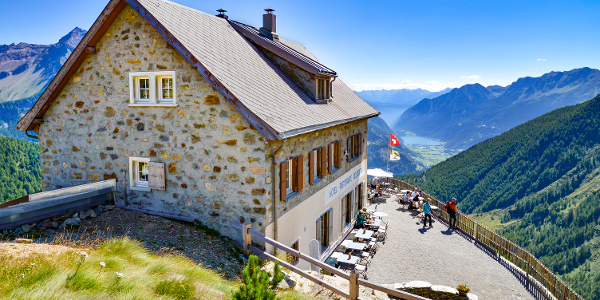 View over the panoramic terrace of the restaurant Belvedere down to the Val Poschiavo