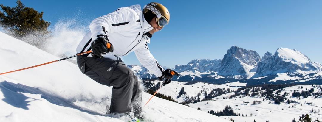 Skifahren auf der sonnenverwöhnten Seiser Alm