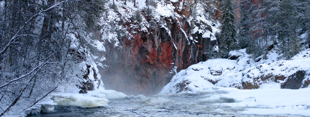 Kiutaköngäs rapids in winter