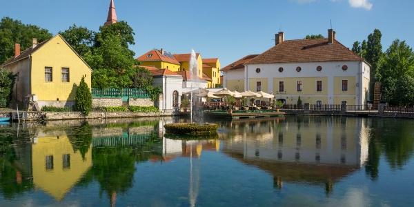Springbrunnen in der Mitte von  Malom-tó (Mühle-Teich)