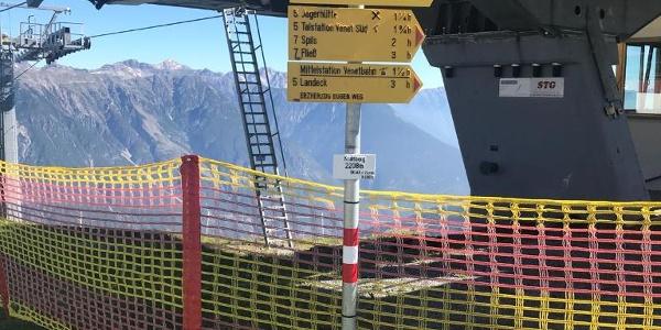 Wegweiser an Venet Bergstation