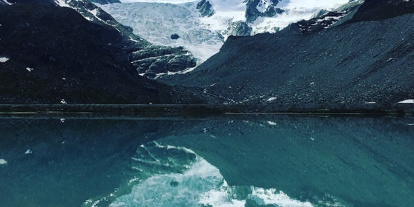 Reflection in the smaller glacial lake