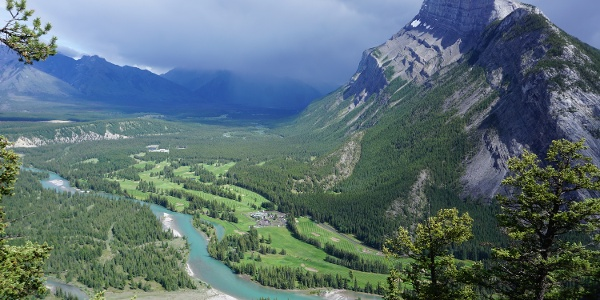 The view of Bow River from the backside of Tunnel Mountain