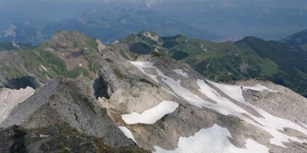 Bergwachttraining auf Nebengipfel, Blick Richtung Rappastein.