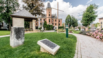 Keep stone of Schladming township in the Rathaus park