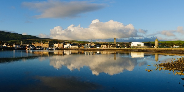 Campbeltown and the loch on a still day