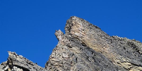 Die fünf Leitern am Klettersteig Schwarzhorn.