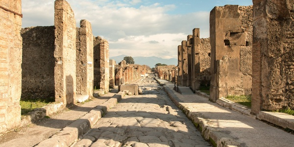 Eine antike Straße in Pompeji