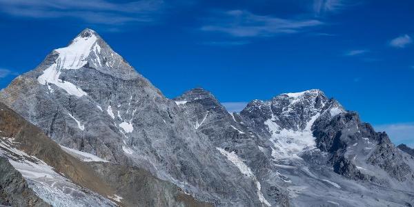 Blick vom Langenferner auf Königsspitze, Zebru und Ortler