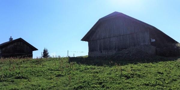 Die beiden Holzgebäude der Bazoraalpe mit Wegmarkierung.